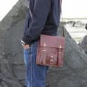 Sacoche homme vintage en cuir à bandoulière – 2 boucles – M