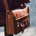Sacoche / Cartable en cuir vintage – 2 boucles – L