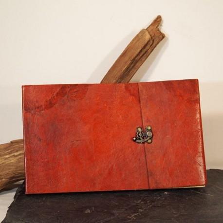 carnet à dessin cuir coloré à crochet paysage grand format