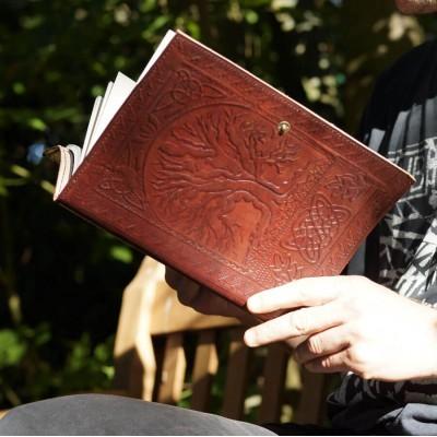 Couvre-livre en cuir - Arbre de vie - Grand format