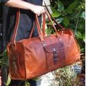 Sac de voyage en cuir vintage - Carré - XXXL