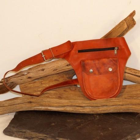 Ceinture à poches en cuir naturel - Cavalière