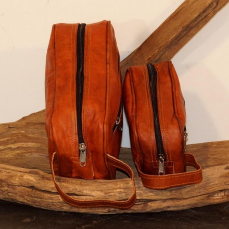 Trousse de toilette en cuir naturel - Vintage