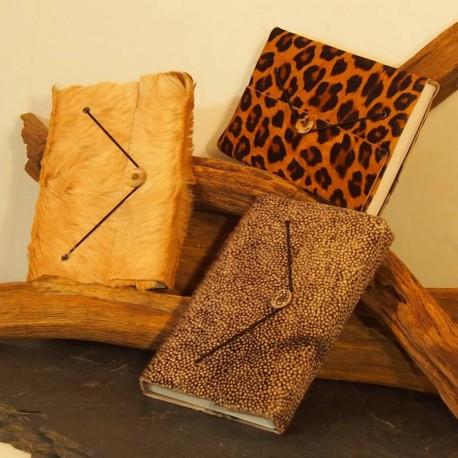 Carnet en cuir avec poil - Imprimé animal