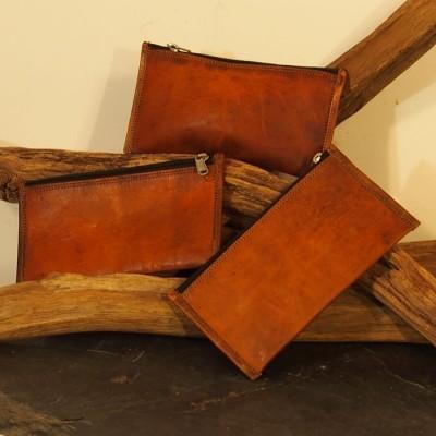 Trousse rectangulaire multiusage en cuir naturel