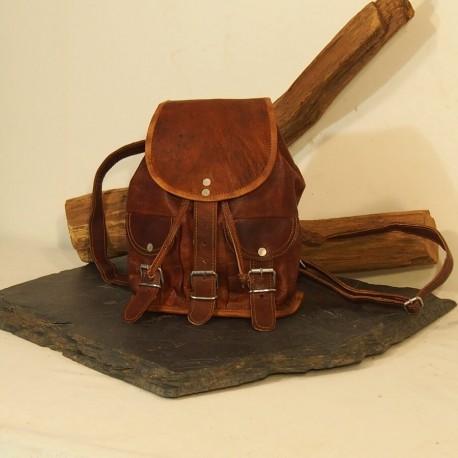 Petit sac à dos en cuir Vintage - Baroudeur - XS