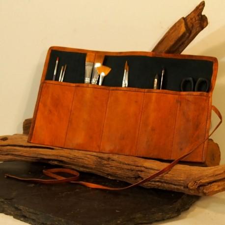 Trousse à outils Vintage, Enroulable, en cuir naturel