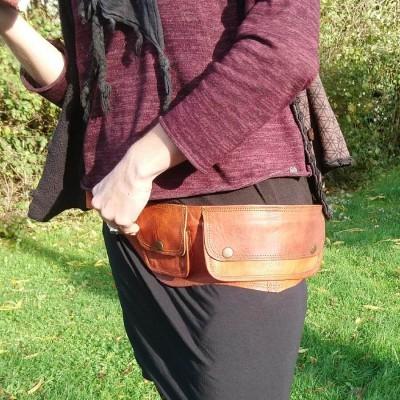 Ceinture en cuir naturel 3 poches