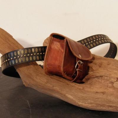 Pochette pour ceinture en cuir - XS