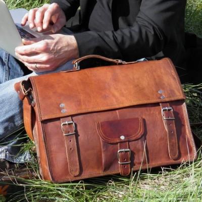 cartable cuir vintage bandoulière poignée ordinateur