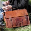 Cartable / Sacoche en cuir vintage – 2 boucles – Poignée - XL