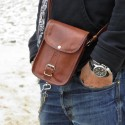 Petite sacoche en cuir vintage pour papiers - 1 boucle - XS