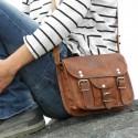 Petite sacoche en cuir vintage – 2 boucles rond – S