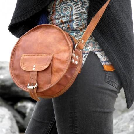 sac en cuir rond vintage à bandoulière femme full Moon