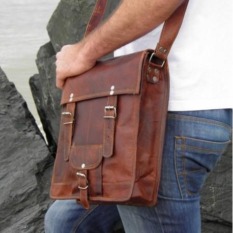 Sacoche homme / Cartable vintage en cuir – 2 boucles – L
