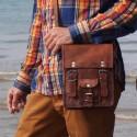 Petite sacoche homme vintage en cuir – 2 boucles – S