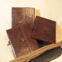 Porte-documents en cuir frappé marron, passant