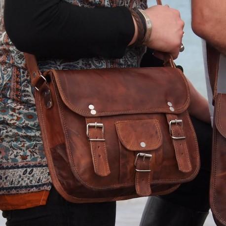 sac à main cuir femme bandoulière 2 boucles rond M