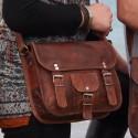 Sacoche femme en cuir vintage – 2 boucles – M