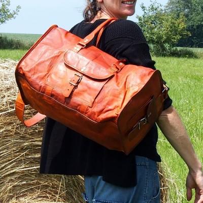Sac de Sport en Cuir - Bagage à Main Vintage - Carré - XL