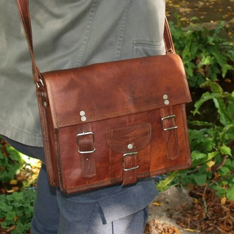 sac en cuir vintage à bandoulière 2boucle carré cartable