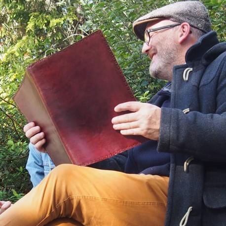 Grand couvre-livre en cuir coloré - Protège cahier