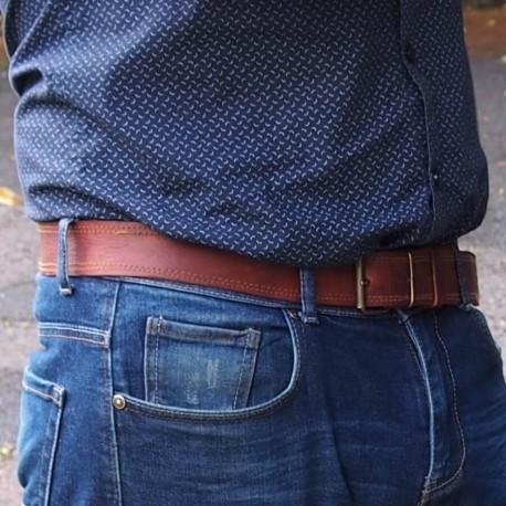 Ceinture pantalon en cuir naturel