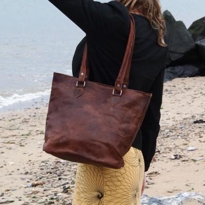 sac cabas en cuir vintage femme cartable