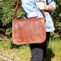 Grande besace / Cartable en cuir à rabat – XL