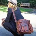 Sacoche en cuir vintage à bandoulière - Multipoches - XL