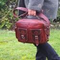 Sacoche en cuir vintage à bandoulière - Multipoches - M