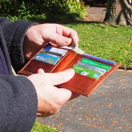 Porte-cartes 6 emplacements en cuir