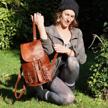 sac à dos en cuir vintage M