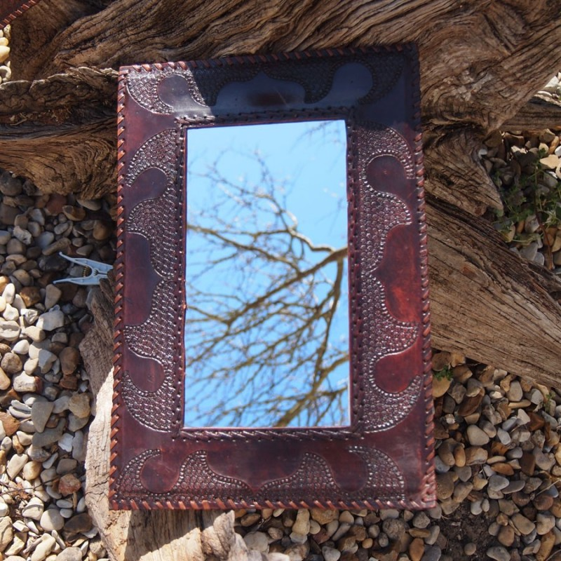 Miroir vintage m di val cadre en cuir naturel for Miroir cadre miroir