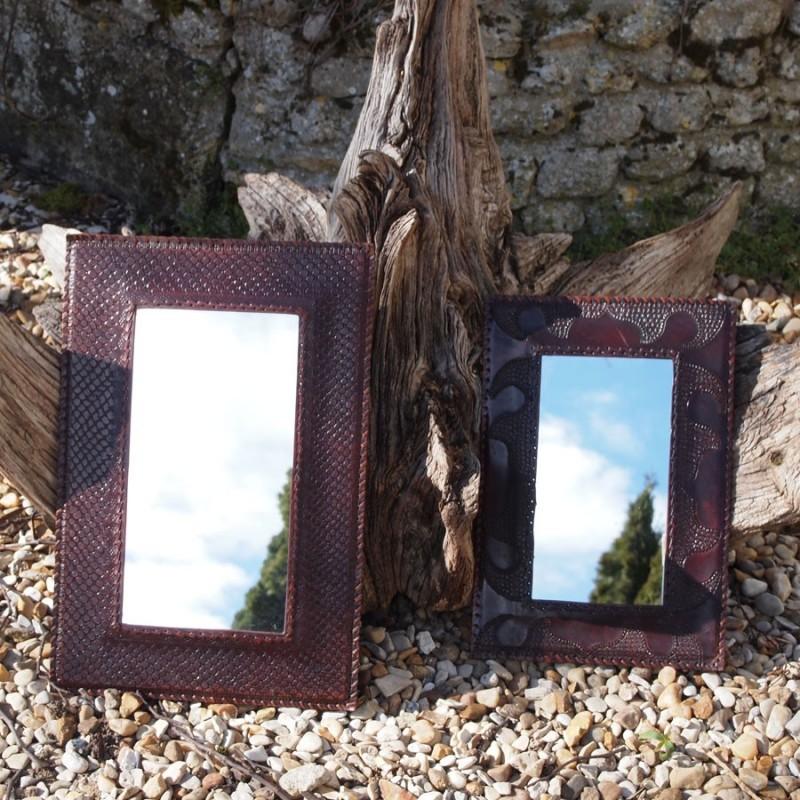 Miroir vintage m di val cadre en cuir naturel for Miroir avec cadre