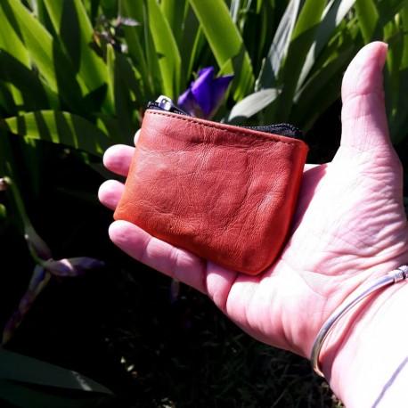 Mini porte-monnaie en cuir naturel