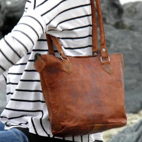 sac cabas en cuir naturel vintage femme