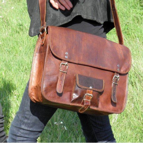 Grande sacoche / Cartable en cuir vintage - 2 boucles rond - XL