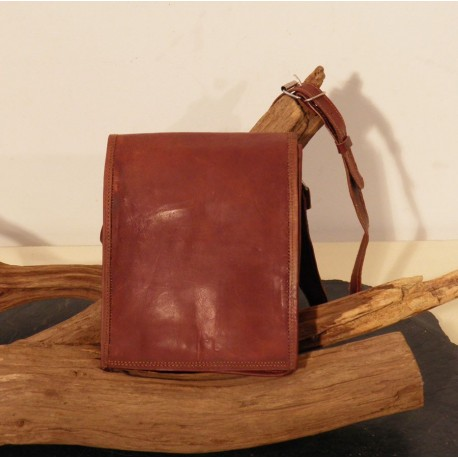 Small leather notebook bag, messenger style.