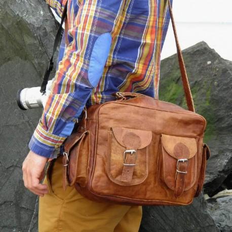 sac en cuir naturel pour appareil photo