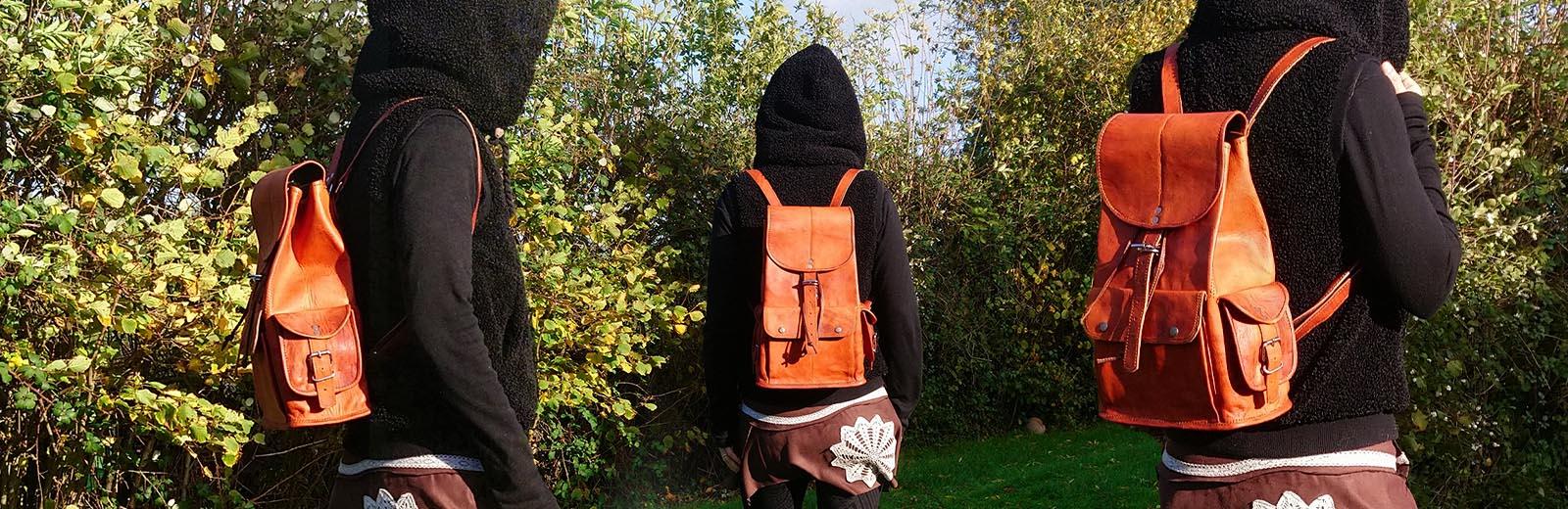 sacs à dos en cuir naturel fait main